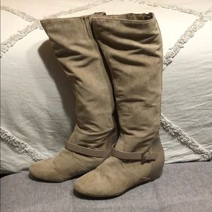 Express suede knee high boots